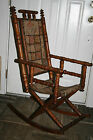 ANTIQUE EASTLAKE SPINDLE ROCKING CHAIR CARPET PAD SEAT & BACK VICTORIAN TURNED