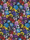 Colorful Pansy packed blue lavender pink Quilt Fabric Elizabeth's Studio 475