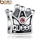 Queen Pink Crystal Love Crown European Silver Charm For 925 Bracelet/Necklace