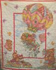 Colorful Bears and Animals in Hotair Balloon Pre-quilted Baby Panel Fabric