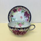 Very Old Cobalt Blue Gold Multi-Colored Floral Porcelain Cup/ Saucer/Beading