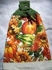 KITCHEN HAND DISH TOWEL WITH CROCHETED TOP FALL SUNFLOWERS PUMPKINS SQUASH