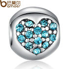 Shine Blue Crystals Heart Beads Charms Fitting 925 European Bracelet/Neckla​ce
