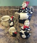 Vintage Fitz And Floyd Polkadot Witch Teapot,cup, Salt & Pepper Shaker Lot 1979