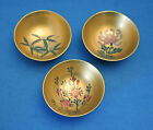vintage BLACK LACQUER & GOLD Hand Painted FLOWERS miniature BOWL lot S.T Japan