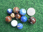 10 vintage Hand-Made porcelain Marble/ blue china Marbles size 0.55-0.79 inch