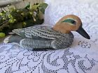 Vintage Hand Carved and  Painted Decoy Duck-Glass Eyes Blue Bill -Perfect