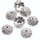 Lots 100Pcs Tibet Silver Plated Flower Shaped Spacer Bead Caps 8x3mm Findings