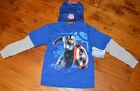 Boy's Marvel Captain America Two-Tone Long Sleeve T-Shirt Top & Beanie S-XL