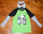Boy's Star Wars Trooper Green Two-Tone Long Sleeve T-Shirt Top & Beanie 4-5, 6-7