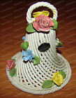 Vintage (Rope) Nuova Capodimonte (Hand Painted) Floral Porcelain Bell (Italy)