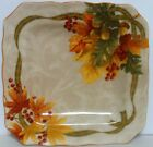 222 Fifth Autumn Celebration Pattern Square Salad Plates - Set Of 3- New