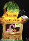 AMBIANCE TIKI LOUNGE LARGE PITCHER 64 OZ PALM TREE TROPICAL BIRDS FLAMINGO