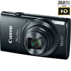 Canon PowerShot ELPH 170 IS 20MP 12x Opt Zoom Digital Camera - Black