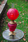 Antique CHERUB RED SATIN GLASS GONE WITH THE WIND OIL LAMP Converted