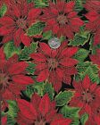 Poinsettias, Red, Large Print, Cotton Fabric
