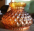 Vtg QUILTED RUFFLED TOP AMBER GLASS HURRICANE LAMP SHADE GLOBE Nice