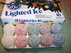 10 GE FROSTED LIGHTED ICE CHRISTMAS TREE LIGHTS SNOWBALL LITE XMAS BULBS GE BALL