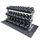 Heavy Duty Rubber Coated Dumbbell Set with Rack 5 70 lbs Pairs Body Solid