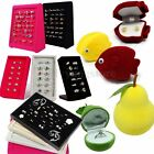 Velvet Jewelry Ring Earring Necklace Display Storage Organizer Holder Box Case