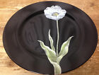 1 Dinner Plate Fitz & Floyd Midnight Poppy Japan Blue Grey Flower Black 23798