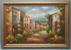 Framed Oil Painting of Mediterranean Sea Side Town Street 30x42