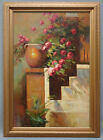 Framed Oil Painting of Stair Side w/ Beautiful Flowers and Clay Pot 24x36
