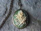 LILY OF THE VALLEY CAMEO LOCKET -ANTIQUE BRONZE, VINTAGE LOOK, QUALITY