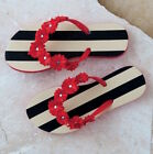 MUD PIE BLACK SAND STRIPE FLOWER FLIP FLOPS NEW