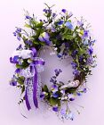 OVAL GRAPEVINE WREATH PURPLE PANSIES FLOWERS SPRING SUMMER GREENERY RIBBONS DOOR