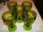 5 BARTLETT COLLINS/INDIANA GREEN GLASS THUMBPRINT ICE CREAM BOWL GOBLETS