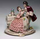 Dresden Art Lady Man Lovers Lace Figurine Figural Group