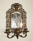 Antique Bradley and Hubbard Gilt Iron Wall Sconce with Mirror and Candlesticks