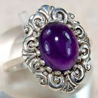 3CT Natural Amethyst 925 Solid Sterling Silver Art Deco Filigree Ring Sz 8