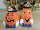 Fitz & Floyd Halloween Jack O Lantern Derby Salt & Pepper Shaker New in Box