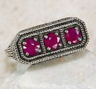 1CT Natural Ruby 925 Solid Sterling Silver Victorian Style Filigree Ring Sz 6