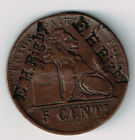 E H RIGBY COUNTERSTAMP X 3 ON 1856 BELGIUM 5 CENTIMES COPPER TOKEN COIN