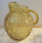 Vintage Milano Lido Honey Gold Amber Glass Ball Pitcher Anchor Hocking