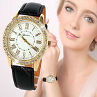 Fashion Women's Watches Luxury Bling Gold Crystal Leather Quartz Wrist Watch HOT