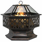 BCP 24in Hex Shaped Fire Pit Decoration w Flame Retardant Lid Black