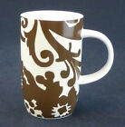 Boho Mug Coffee Cups Floral Brown Flowers and Leaves White Rosanna USA