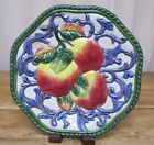 FF Fitz Floyd Florentine Fruit Blue Apple Decorative Plate Embossed