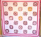 ANTIQUE  QUILT TUMBLING BLOCK STAR 1850S CIVIL WAR ERA QUILT GREAT QUILTING