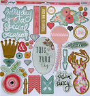 My Minds Eye Just Sayin 12 x 12 Chipboard Elements with glitter  Save 50