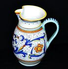 Deruta Dip A Mano Italy Hand Painted Large Pottery Italian Pitcher / Jug