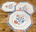 Jardin de Chine Fitz Floyd Rust Flowers Blue Butterfly Octagon 3 Dinner Plates