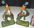 ANTIQUE GALVANO BRONZE CLAD WESTERN COWBOY GUN RODEO HORSE ART STATUE BOOKENDS