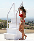 Above Ground Pool Ladder Heavy Duty White Non Slippery Step System with Handle