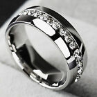 Men Women CZ Couple Stainless Steel Wedding Ring Titanium Engagement Band Sz7 11