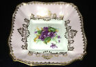 GROSVENOR SQUARE PURPLE VIOLETS FLOWERS CANDY DISH PIN TRAY GOLD PINK DETAILING